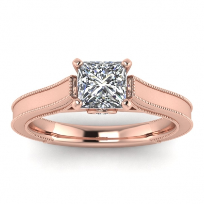 14k Rose Gold Addison Princess Cut Diamond Vintage Engagement Ring (1/9 CT. TW.)