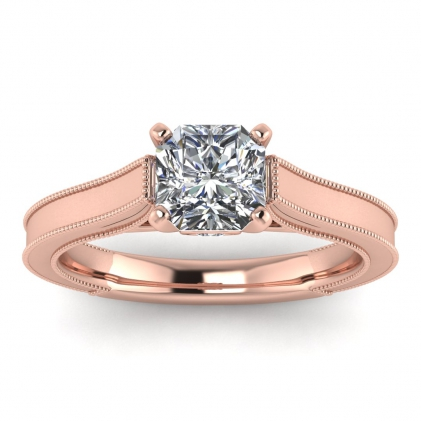 14k Rose Gold Addison Radiant Cut Diamond Vintage Engagement Ring (1/9 CT. TW.)
