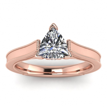 14k Rose Gold Addison Trillion Diamond Vintage Engagement Ring (1/9 CT. TW.)