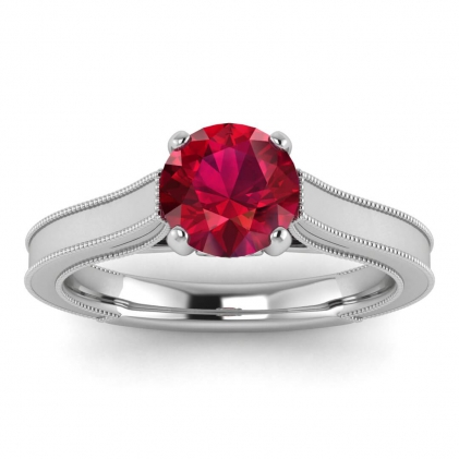 14k White Gold Addison Ruby and Diamond Vintage Engagement Ring (1/9 CT. TW.)