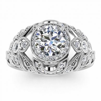 14k White Gold Eva Halo Antique Diamond Ring (2/5 CT. TW.)