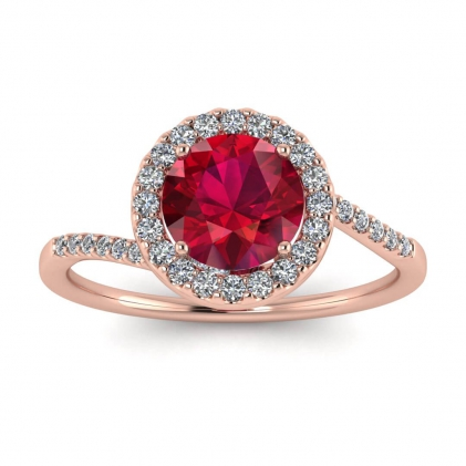 14k Rose Gold Swirl Petite Halo Ruby and Diamond Ring (1/7 CT. TW.)