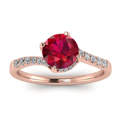 14k Rose Gold Swirly Petite Pave Ruby and Diamond Ring (1/7 CT. TW.)