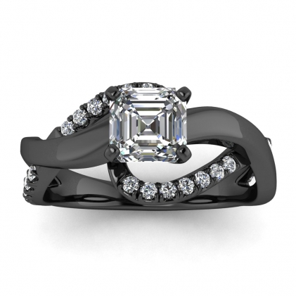 14k Black Gold Aubree Twisted Asscher Cut Diamond Ring (1/4 CT. TW.)