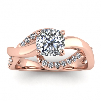 14k Rose Gold Aubree Twisted Cushion Cut Diamond Ring (1/4 CT. TW.)