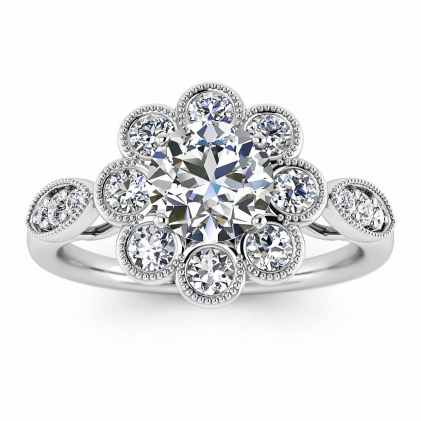 14k White Gold Flower Flower Diamond Ring (1/2 CT. TW.)