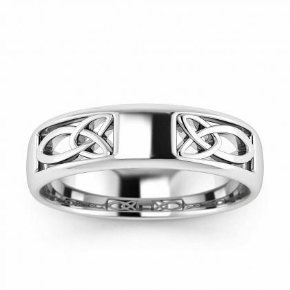 14k White Gold Filigree Irish Ring 5mm