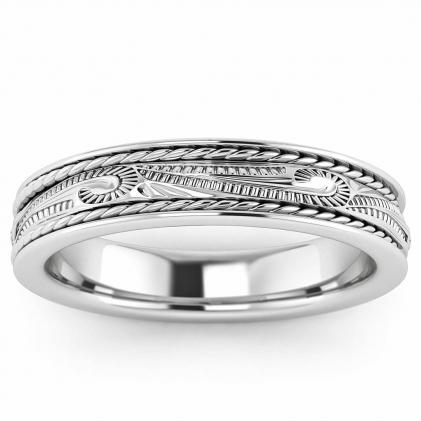 14k White Gold Scroll Wedding Ring 4.5mm