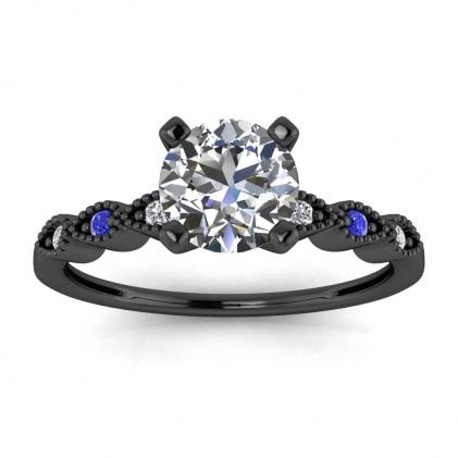 14k Black Gold Dot Vintage Diamond and Sapphire Engagement Ring
