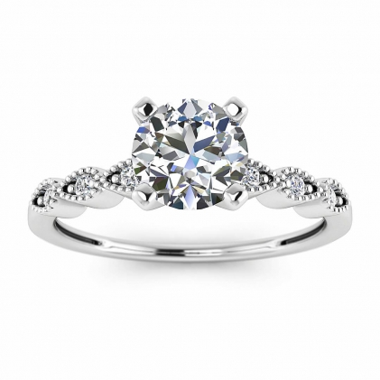 14k White Gold Dot Vintage Diamond Engagement Ring