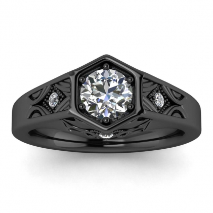14k Black Gold Adalynn Hexagon Diamond Ring