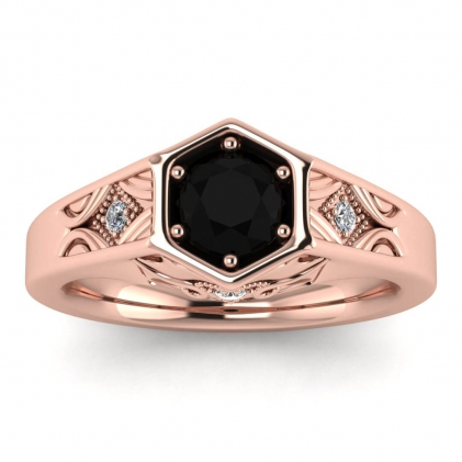14k Rose Gold Adalynn Hexagon Black Diamond and Diamond Ring