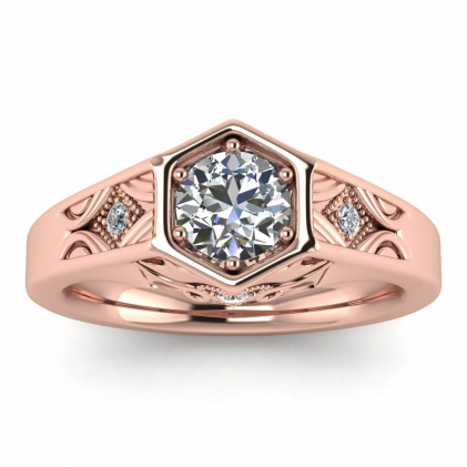 14k Rose Gold Adalynn Hexagon Diamond Ring