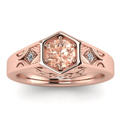 14k Rose Gold Adalynn Hexagon Morganite and Diamond Ring