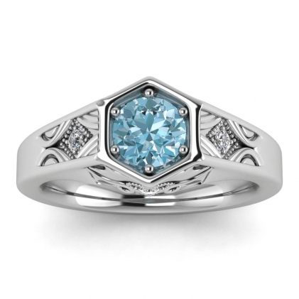 14k White Gold Adalynn Hexagon Aquamarine and Diamond Ring
