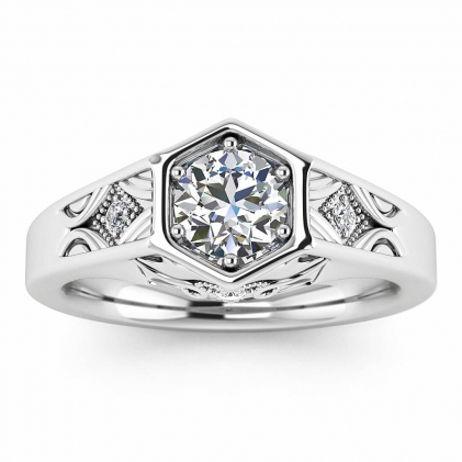 14k White Gold Adalynn Hexagon Diamond Ring