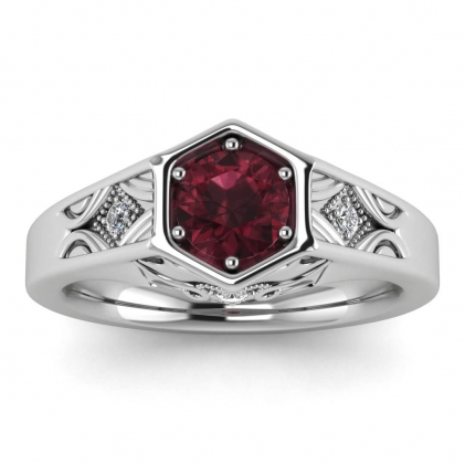 14k White Gold Adalynn Hexagon Garnet and Diamond Ring