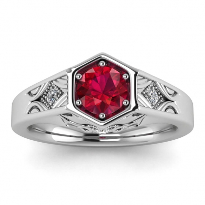14k White Gold Adalynn Hexagon Ruby and Diamond Ring