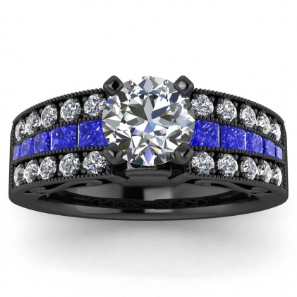 14k Black Gold Khloe Diamond and Sapphire Princess Cut Ring