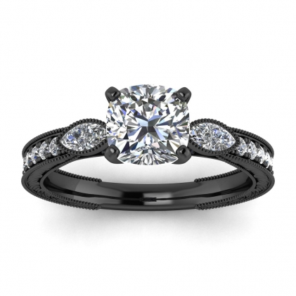 14k Black Gold Allegria Vintage Marquise Accents Cushion Cut Diamond Ring (1/3 CT. TW.)