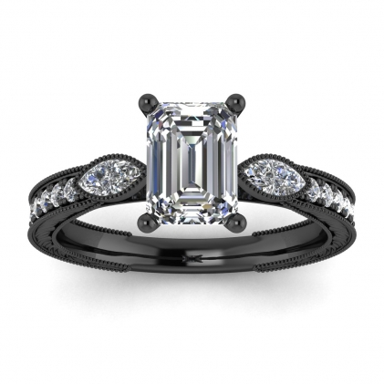 14k Black Gold Allegria Vintage Marquise Accents Emerald Cut Diamond Ring (1/3 CT. TW.)