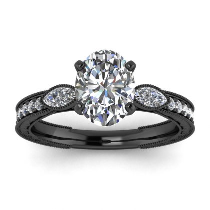 14k Black Gold Allegria Vintage Marquise Accents Oval Diamond Ring (1/3 CT. TW.)