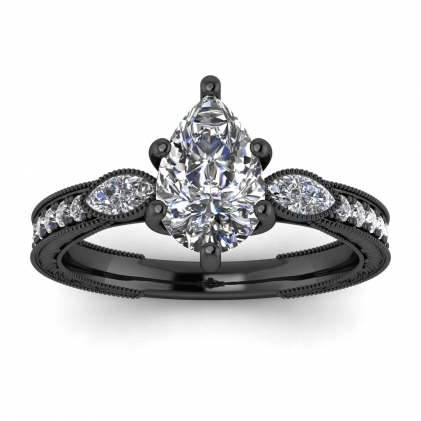 14k Black Gold Allegria Vintage Marquise Accents Pear Shaped Diamond Ring (1/3 CT. TW.)