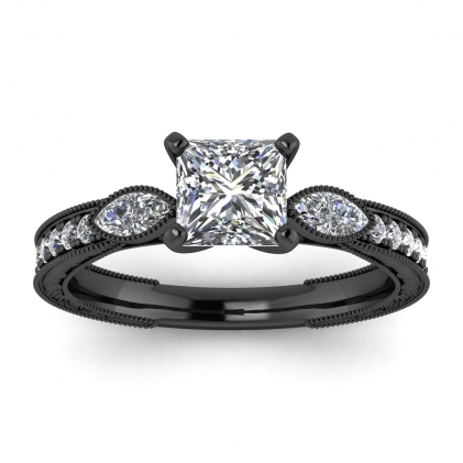14k Black Gold Allegria Vintage Marquise Accents Princess Cut Diamond Ring (1/3 CT. TW.)