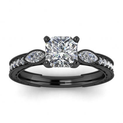 14k Black Gold Allegria Vintage Marquise Accents Radiant Cut Diamond Ring (1/3 CT. TW.)