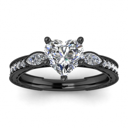 14k Black Gold Allegria Vintage Marquise Accents Heart Shaped Diamond Ring (1/3 CT. TW.)
