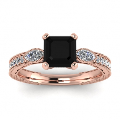 14k Rose Gold Allegria Vintage Marquise Accents Asscher Cut Black Diamond and Diamond Ring (1/3 CT. TW.)