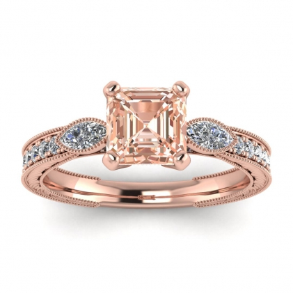 14k Rose Gold Allegria Vintage Marquise Accents Asscher Cut Morganite and Diamond Ring (1/3 CT. TW.)