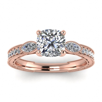 14k Rose Gold Allegria Vintage Marquise Accents Cushion Cut Diamond Ring (1/3 CT. TW.)