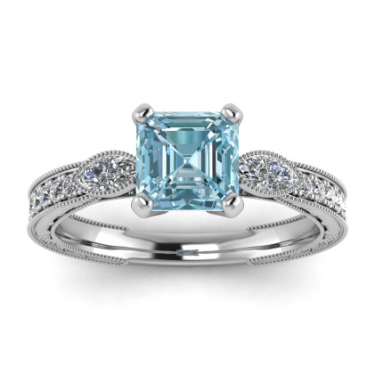 14k White Gold Allegria Vintage Marquise Accents Asscher Cut Aquamarine and Diamond Ring (1/3 CT. TW.)
