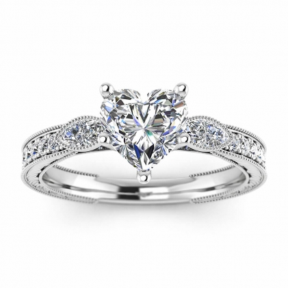 14k White Gold Allegria Vintage Marquise Accents Heart Shaped Diamond Ring (1/3 CT. TW.)