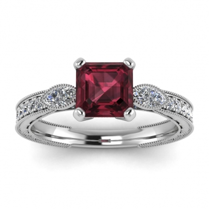 14k White Gold Allegria Vintage Marquise Accents Asscher Cut Garnet and Diamond Ring (1/3 CT. TW.)