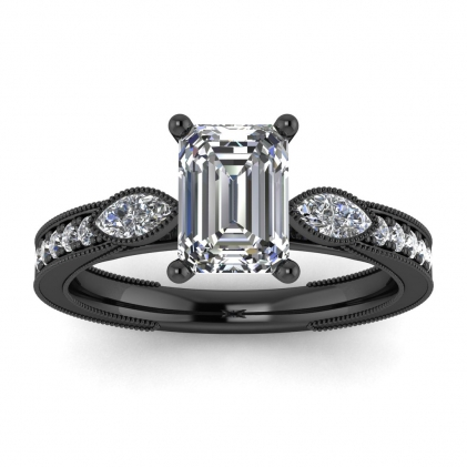 14k Black Gold Allegria Shiny Milgrained Emerald Cut Diamond Ring (1/3 CT. TW.)