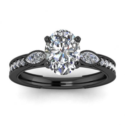 14k Black Gold Allegria Shiny Milgrained Oval Diamond Ring (1/3 CT. TW.)
