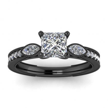14k Black Gold Allegria Shiny Milgrained Princess Cut Diamond Ring (1/3 CT. TW.)