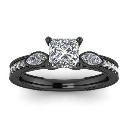 14k Black Gold Allegria Shiny Milgrained Princess Cut Diamond Ring (1/3 CT. TW.)