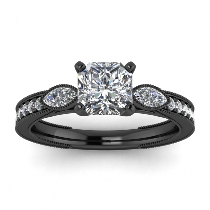 14k Black Gold Allegria Shiny Milgrained Radiant Cut Diamond Ring (1/3 CT. TW.)