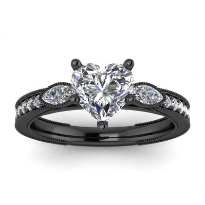 14k Black Gold Allegria Shiny Milgrained Heart Shaped Diamond Ring (1/3 CT. TW.)