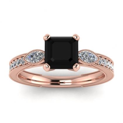 14k Rose Gold Allegria Shiny Milgrained Asscher Cut Black Diamond and Diamond Ring (1/3 CT. TW.)