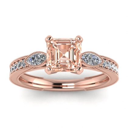 14k Rose Gold Allegria Shiny Milgrained Asscher Cut Morganite and Diamond Ring (1/3 CT. TW.)