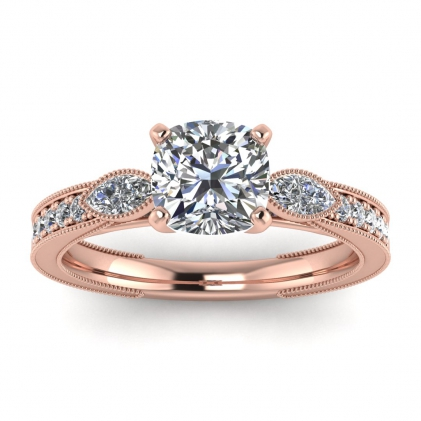 14k Rose Gold Allegria Shiny Milgrained Cushion Cut Diamond Ring (1/3 CT. TW.)