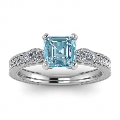 14k White Gold Allegria Shiny Milgrained Asscher Cut Aquamarine and Diamond Ring (1/3 CT. TW.)