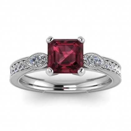 14k White Gold Allegria Shiny Milgrained Asscher Cut Garnet and Diamond Ring (1/3 CT. TW.)