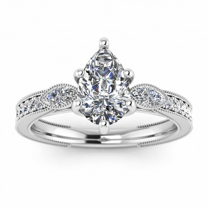 14k White Gold Allegria Shiny Milgrained Pear Shaped Diamond Ring (1/3 CT. TW.)