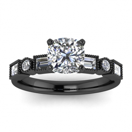 14k Black Gold Amara Cushion Cut Diamond Baguette Ring (3/5 CT. TW.)