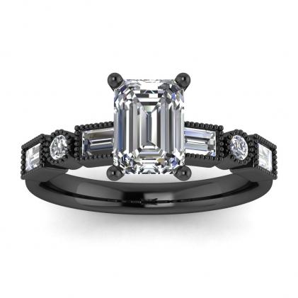 14k Black Gold Amara Emerald Cut Diamond Baguette Ring (3/5 CT. TW.)
